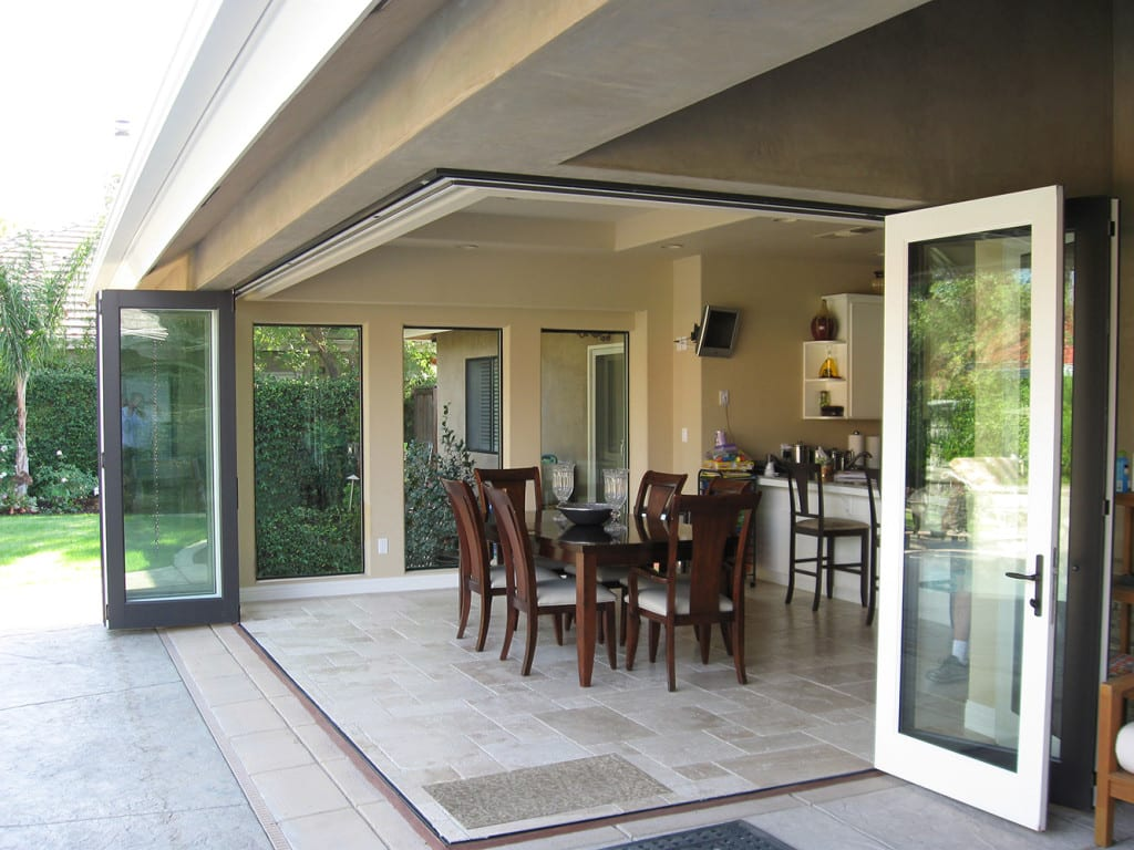Interior triple sliding or bifold doors interior free for Corner sliding glass doors